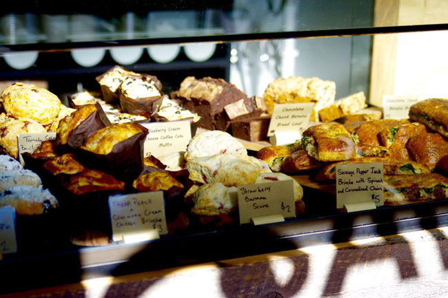pastry case at savory bake house